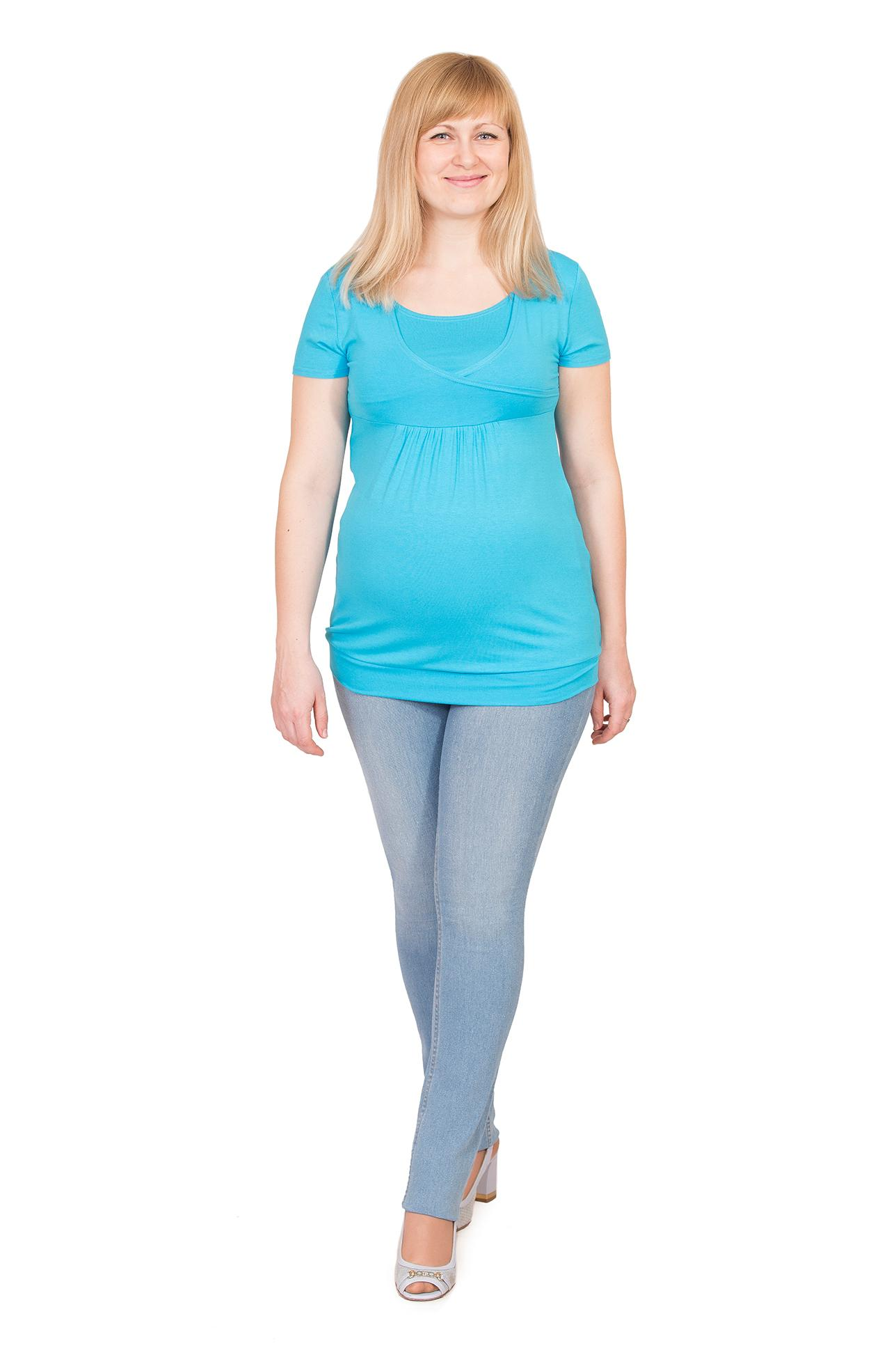 Блуза-туника трикотажная бирюзовая недорогая туника для беременных ... 910fc6204d3